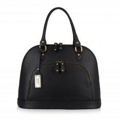 Avorio Nero - Black leather medium shoulder bag