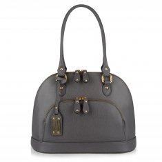 Avorio Nero - Grey leather medium shoulder bag