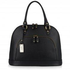 Avorio Nero - Large shoulder black leather bag