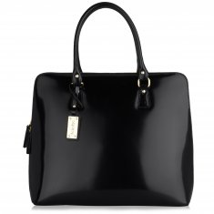 Avorio Nero - Shoulder bag in polished calf leather