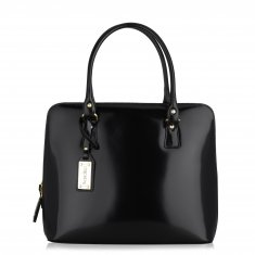 Avorio Nero - Medium shoulder bag in polished calf leather